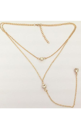 Gold Double Layer Necklace with Crystal Pendant by Always Chic