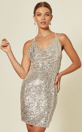 Vue Sequin Mini Dress in Nude/Silver by TFNC