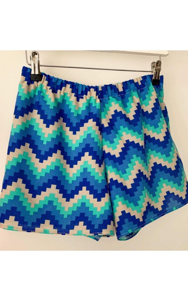 Ria High Waisted Shorts in Blue Geometric Print by Leigh Taylor