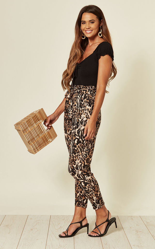 MORLEY ABSTRACT ANIMAL PRINT PAPERBAG WAIST TROUSERS by Blue Vanilla