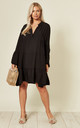 LIBBY Long Sleeve Oversized Tunic Black by Blue Vanilla