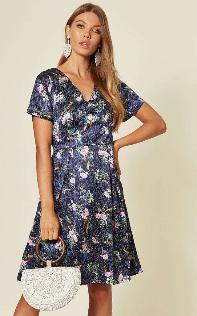 Short Sleeve Skater Dress In Navy Floral and Spot Print by Yumi