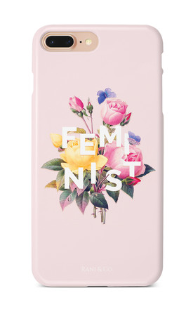 Feminist Slogan & Flower Phone Case In Pink by Rani & Co. Product photo