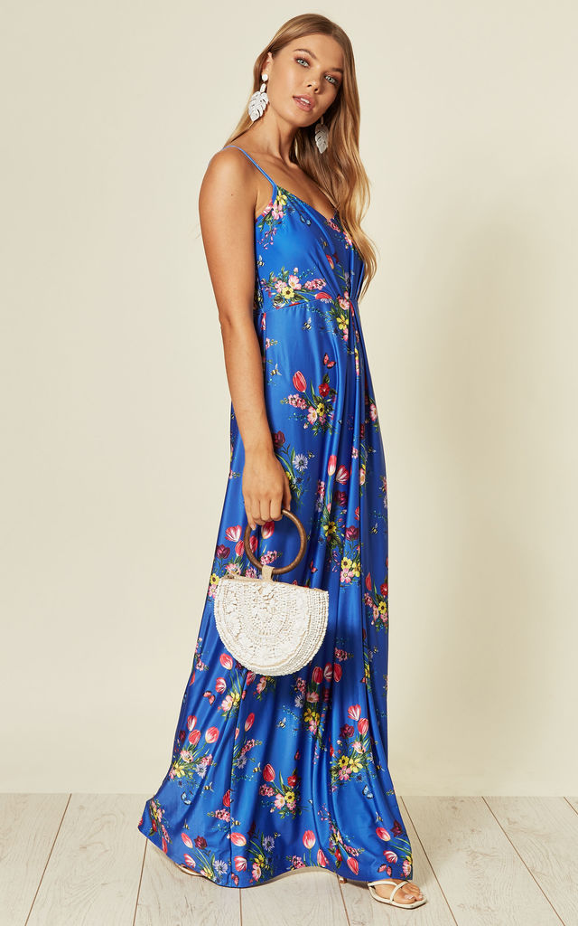 Strappy Maxi Dress In Blue Bouquet Print by Yumi