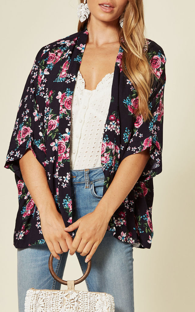 Cropped Sleeve Kimono In Navy Rose Print by Yumi