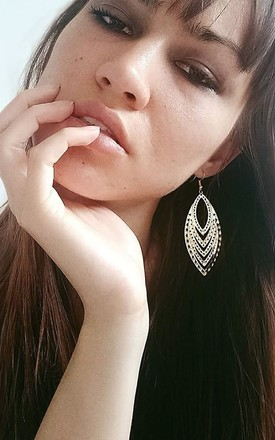 Gold Tone Cutwork Leaf Earrings by Xander Kostroma