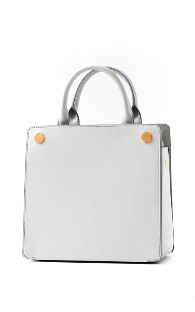 Leather Shoulder Bag with Grab Handle in Cream/Grey by MOOD BAG