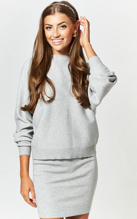 Knitted Mini Skirt in Light Grey by Noisy May