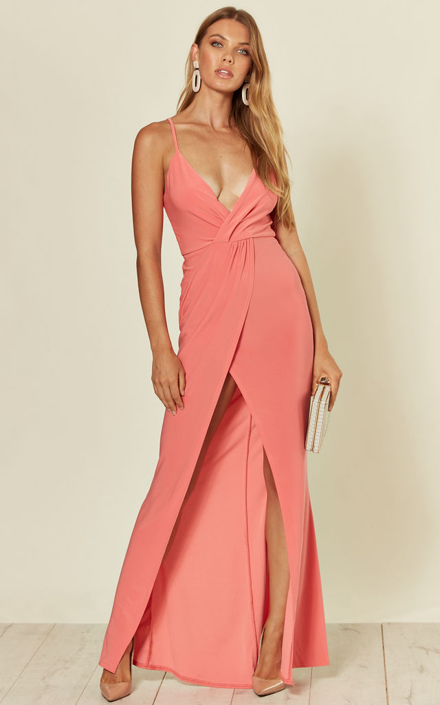 Caggie Strappy Pink Maxi Dress With Slit by B of London