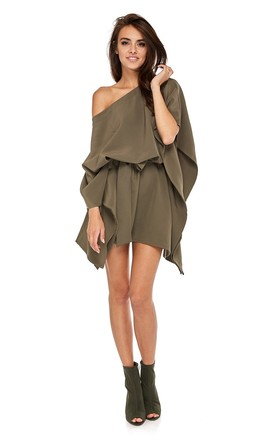 Khaki Kimono Style Oversized Dress by By Ooh La La