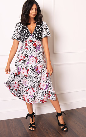Eliza V Neck Mixed Puff Sleeve Spot & Floral Print Midi Tea Dress In Black, White & Pink by One Nation Clothing Product photo