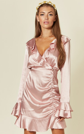 Pink long sleeve silky wrap mini dress by Another Look