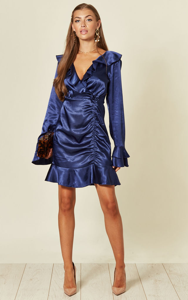 Navy long sleeve silky wrap mini dress by Another Look