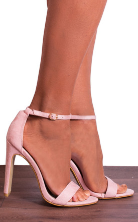 Light Baby Pink Ankle Strap Strappy Sandals High Heels by Shoe Closet Product photo