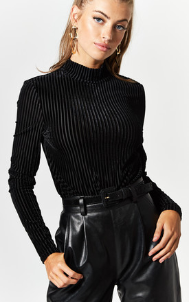 Long Sleeve High Neck Ribbed Top In Black by Noisy May Product photo
