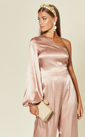 Silky one shoulder jumpsuit nude pink by Another Look