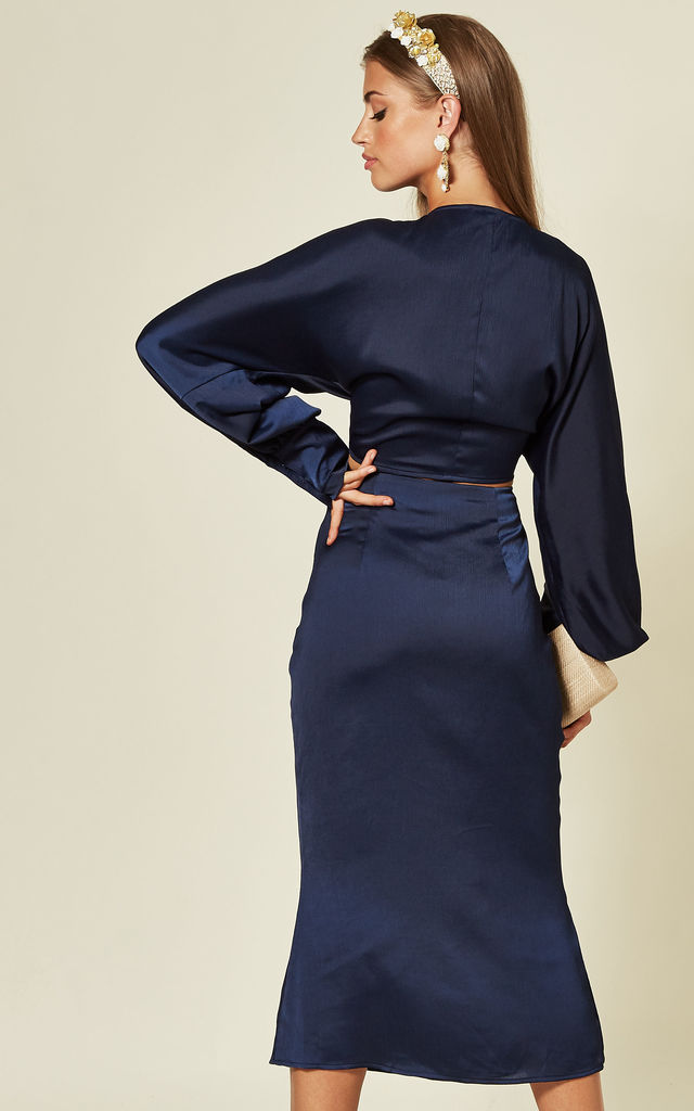 Midi skirt with side split detail in Navy by Another Look