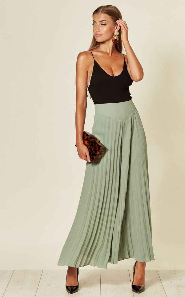 Lulu Palazzo Trousers with pleats in Sage Green by SlayTwins