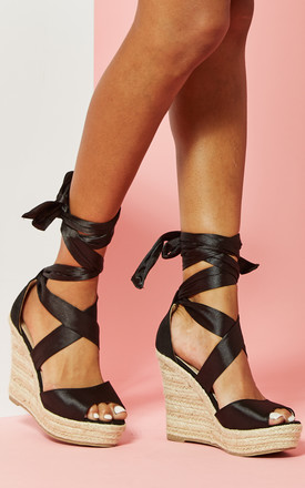 Lace Up Wedged Sandal Black by Glamorous