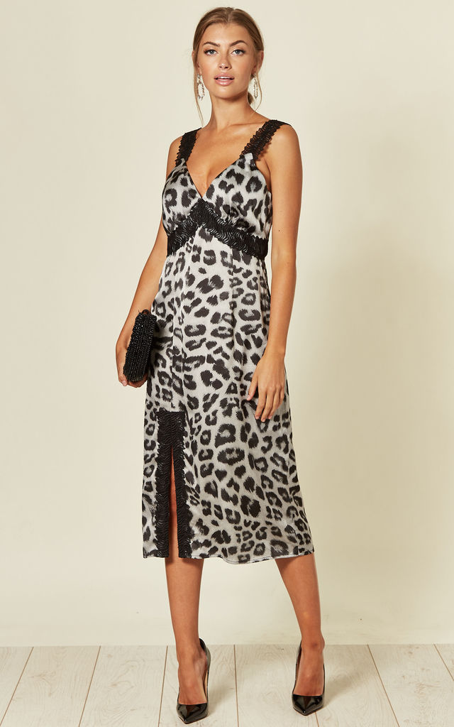 d70a5577c1 Grey Animal Print Midi Dress With Lace Trim Details By Another Look