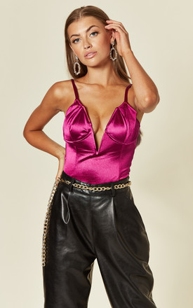 Satin cup detail bodysuit in fuchsia pink by Another Look
