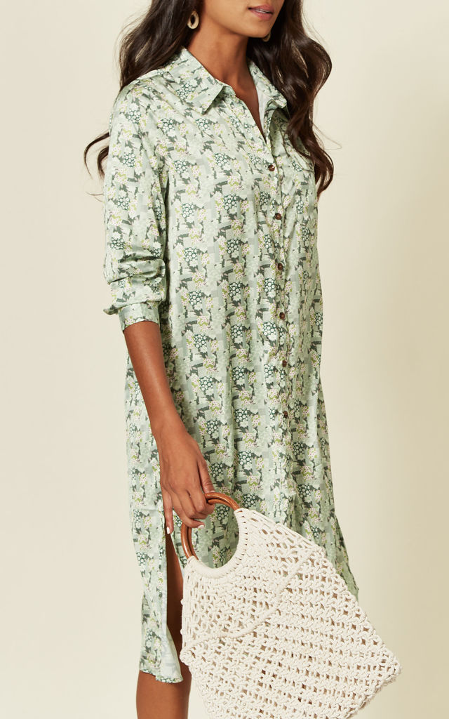Oversized Shirt Dress in Mint Green Blossom Print by D.Anna