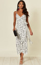 Naomi frill wrap midi dress in black and white floral print by D.Anna