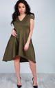 Cold Shoulder Dip Hem Midi Dress in Khaki by Oops Fashion
