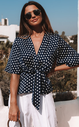 Navy Polka Dot Kimono Knot Top by Bella and Blue