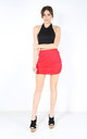 High Waist Ruched Mini Skirt in Red by Oops Fashion