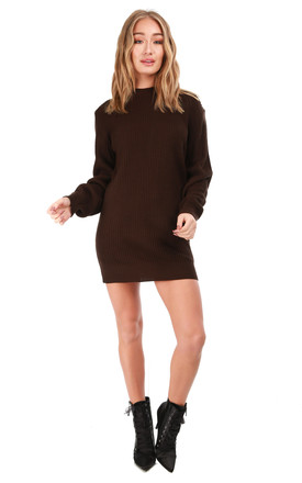 Long Sleeve Knitted Jumper Dress in Brown by Oops Fashion