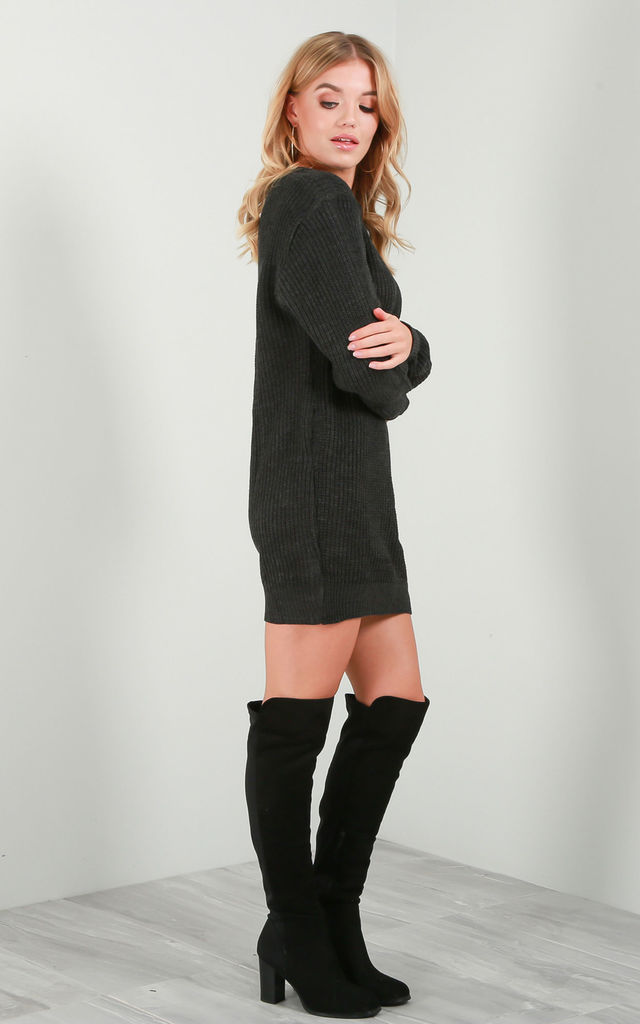 Long Sleeve Knitted Jumper Dress in Charcoal by Oops Fashion