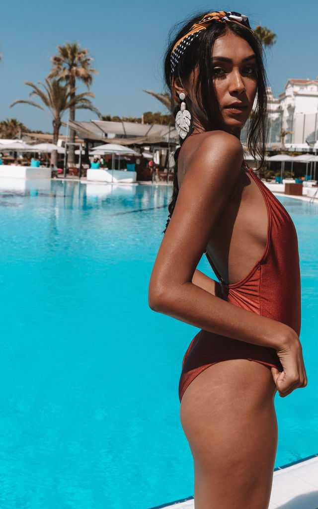 MARGOT PLUNGE SWIMSUIT IN BURNT ORANGE SHIMMER by South Beach