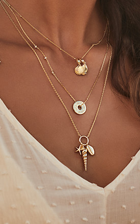 Como Gold Chain Necklace With Shells And Starfish by Apache Rose London Product photo