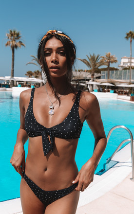 Harry Tie Front Bikini Top In Black Speckle by Charlie Holiday Product photo