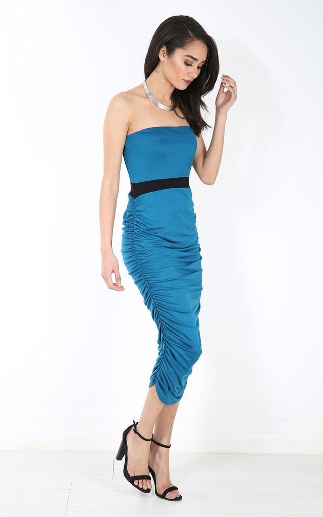 Ruched Side Bardot Midi Pencil Dress In Teal by Oops Fashion