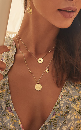 Mantra Gold Chain Necklace With Heart Always Pendant by Apache Rose London Product photo
