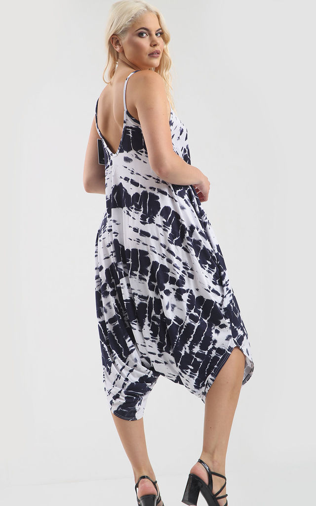 Strappy Harem Jumpsuit in Navy Tie Dye by Oops Fashion
