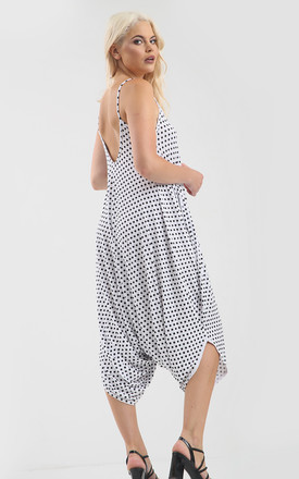 Strappy Harem Jumpsuit in Black Polka Dot by Oops Fashion