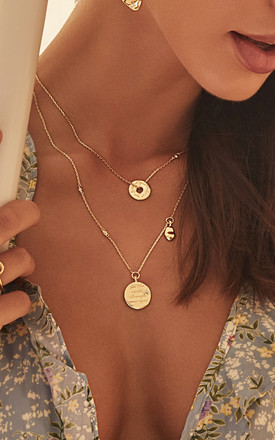 Mantra Gold Chain Necklace With See The World Pendant by Apache Rose London Product photo