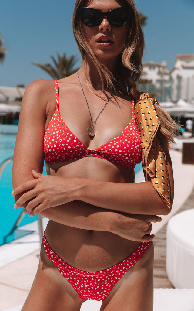 Somerset Triangle Bikini Top in red ditsy floral by Charlie Holiday