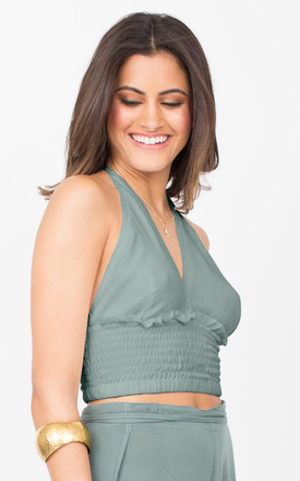 Halter Neck Crop Top in Verona Green by likemary