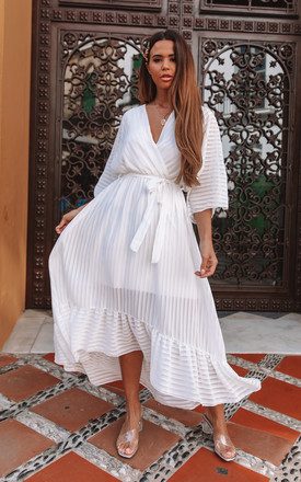 White Plunge Maxi Dress by Bella and Blue