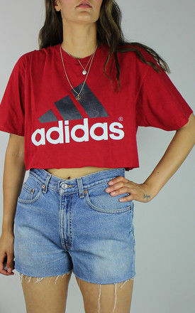 Vintage Adidas Logo Cropped Tshirt In Red by Re:dream Vintage Product photo
