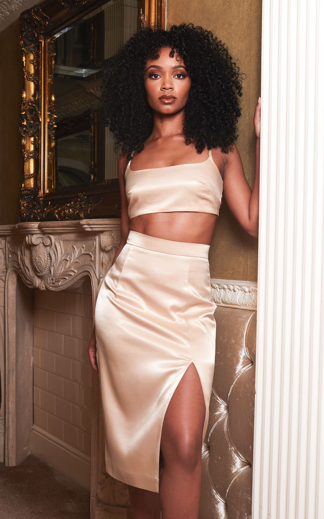 BELLA crop top and midi skirt co ord in gold satin by DX BOUTIQUE