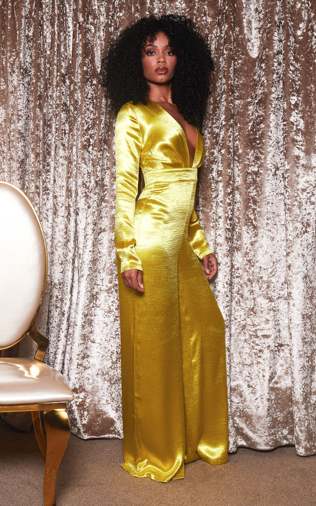 CARRIE satin wide leg jumpsuit in yellow by DX BOUTIQUE