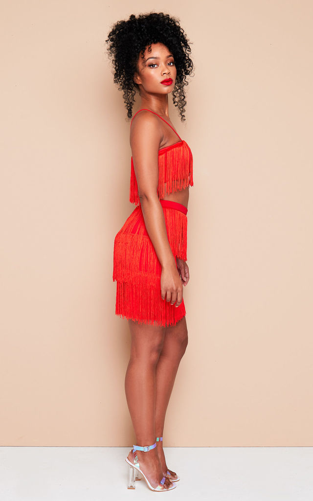 NIA tassel crop top and mini skirt co-ord in red by DX BOUTIQUE
