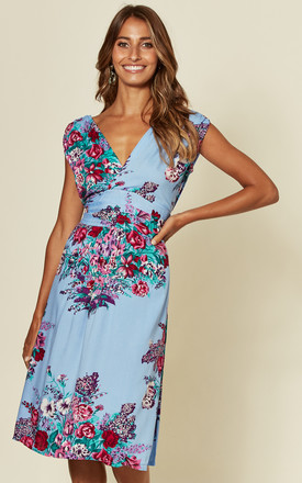 Martini Midi Dress In Blue Spring Bouquet by Ruby Rocks Product photo