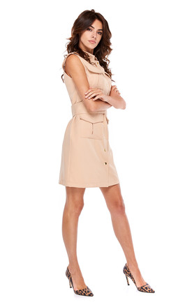 Military Style Mini Dress With Buttons In Camel by By Ooh La La Product photo