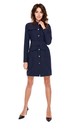 Military Style Mini Dress With Buttons In Navy Blue by By Ooh La La Product photo